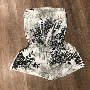 Ocean Blue Brand Strapless Shorts Romper-Lg